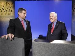 Tea Party-backed Richard Mourdock, left, and Sen. Richard Lugar, R-Ind., debate April 11 in Indianapolis.