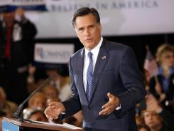 Mitt Romney speaks to supporters in Novi, Mich., on Feb. 28 after winning that state's primary.