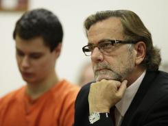 "John Henry Browne, right, the attorney for Colton Harris-Moore, left, who is also known as the ""Barefoot Bandit,"" are shown in court Dec. 16, 2011."
