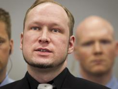 Right-wing extremist Anders Behring Breivik speaks during his trial Friday at the central court in Oslo.
