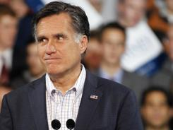 Mitt Romney speaks during an election night rally Feb. 7 in Denver.