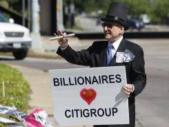 Grant Youngman at an Occupy Dallas tax day protest outside the Citigroup shareholders meeting on Tuesday.