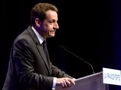 Nicolas Sarkozy speaks during a campaign event Friday in Nice, France.