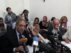 Egyptian presidential candidate Amr Moussa speaks during a press conference at his residence in Cairo on Sunday.
