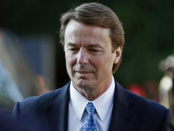 John Edwards arrives at federal court Monday in Greensboro, N.C.