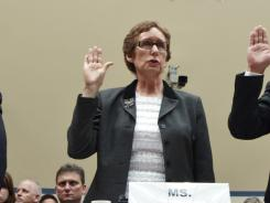 Testifying on Capitol Hill: Former GSA administrator Martha Johnson is being sworn in April 16.