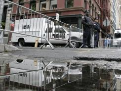 Authorities finished digging up the basement of the building in the background on Monday in connection with the disappearance 33 years ago of 6-year-old Etan Patz in New York City.