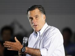 Mitt Romney speaks during a campaign stop Monday in Aston, Pa.