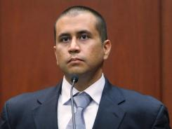George Zimmerman sits on the stand during his bond hearing in a Sanford, Fla., courtroom on April 20.
