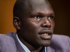 Jacob Acaye, a former LRA abductee whose story was highlighted in the recent KONY 2012 video, testifies during a Senate Foreign Relations Committee African Affairs Subcommittee hearing on Capitol Hill.