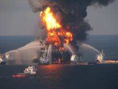Blazing remnants of BP's Deepwater Horizon offshore oil rig.
