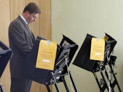 Rep. Jason Altmire, D-Pa., votes in the Pennsylvania primary election on Tuesday in McCandless, Pa.