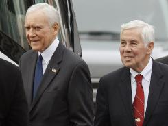 Sen. Orrin Hatch, R-Utah, left, and Sen. Richard Lugar, R-Ind., both face primary battles in their bids for re-election.