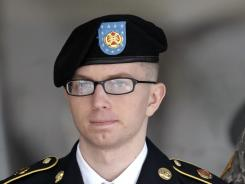Army Pfc. Bradley Manning departs a courthouse in Fort Meade, Md., on March 15.