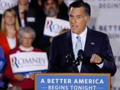 Romney: The GOP front-runner addresses supporters Tuesday night in Manchester, N.H.