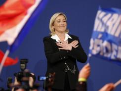 French far-right candidate Marine Le Pen celebrates during an election night rally Sunday in Paris.