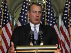 House Speaker John Boehner, R-Ohio, discusses the student loans bill on Capitol Hill in Washington on Wednesday.