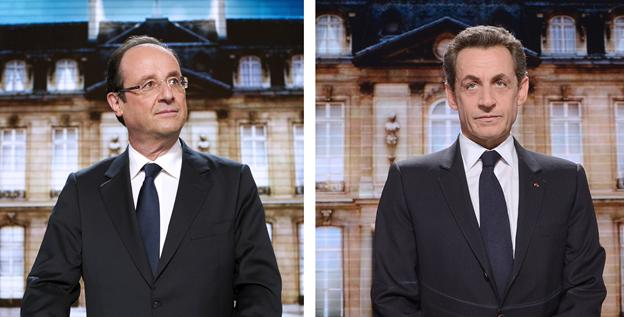 Francois Hollande, left, and Nicolas Sarkozy are vying to pick up the more than 6 million French who voted for Marine Le Pen.