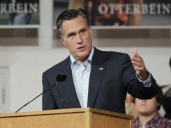 Mitt Romney speaks during a campaign event at Otterbein University in Westerville, Ohio, on Friday.
