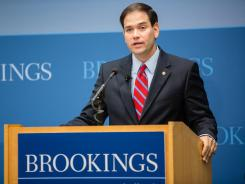 Sen. Marco Rubio, R-Fla., gives an address on American foreign policy on Wednesday at the Brookings Institution in Washington, D.C.