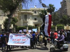 Egyptian protesters demonstrate in front of the Saudi Embassy in Cairo, Egypt.