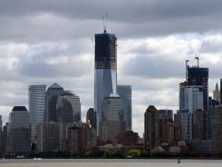 The lower Manhattan skyline shows One World Trade Center on Friday.