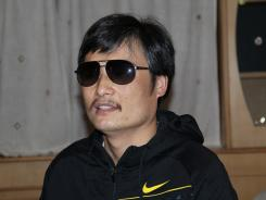 Blind Chinese legal activist Chen Guangcheng is seen at an undisclosed location in Beijing in April.
