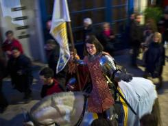Pauline Finet performs as Joan of Arc during the opening ceremony of the 600th anniversary of the icon's birth in Orleans, France, on Sunday.