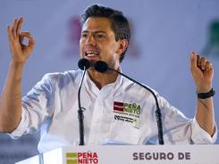 Mexican presidential candidate Enrique Pena Nieto speaks during a rally in Nezahualcoyotl on Saturday.
