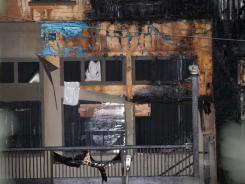 A building at Tyler Perry Studios in Atlanta shows damage caused by a fire Tuesday night.