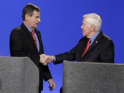 Sen. Richard Lugar, R-Ind. and Richard Mourdock, left, participate in a debate on April 11 in Indianapolis.