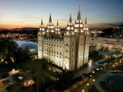 The sun sets behind the Mormon Temple in Salt Lake City. Mormons were the fastest-growing group in 26 states, according to a new study, expanding beyond their historic home in Utah.