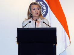 Secretary of State Hillary Rodham Clinton, speaking on Tuesday in New Delhi, urged Pakistan to do more to stop terrorism.