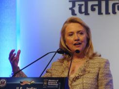 Secretary of State Hillary Clinton speaks during an India-U.S. Partnership for Innovative Solutions conference in New Delhi.
