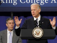 Vice President Biden speaks in Norfolk, Va., on April 3 as Education Secretary Arne Duncan looks on. Comments by the two on gay marriage have sparked questions about President Obama's views.