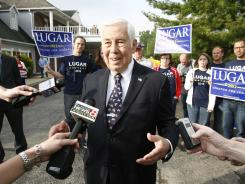 Sen. Richard Lugar is interviewed by local media outside the polls at Jonathan Byrd's Cafeteria in Greenwood, Ind.