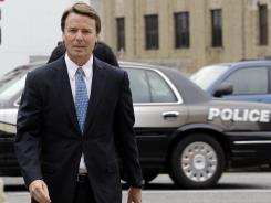 John Edwards arrives at a federal courthouse in Greensboro, N.C., on Tuesday.