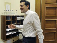 Syriza coalition leader Alexis Tsipras, outside his Parliament office Wednesday, wants austerity measures revoked.