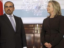 Secretary of State Hillary Rodham Clinton meets with Bahrain's Crown Prince Sheik Salman bin Hamad Al Khalifa on Wednesday.