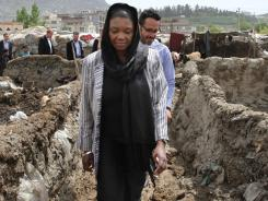The U.N.'s Valerie Amos visits an informal settlement Wednesday in Kabul.