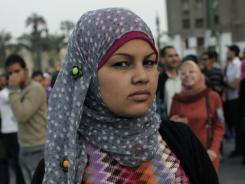 Egyptian activist Samira Ibrahim attends an anti-Military Supreme Council protest in Tahrir Square in Cairo.