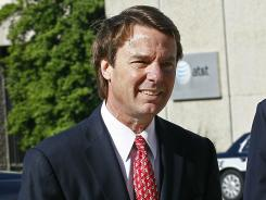 John Edwards arrives at a federal courthouse in Greensboro, N.C., on Thursday.