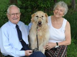 Bob Sessions, with his wife Julia and their dog Wesley, will be taking part in a trial of resveratrol, a compound in red wine, as a treatment for Alzheimer's.
