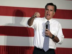Mitt Romney speaks on Thursday at a campaign stop in Omaha.