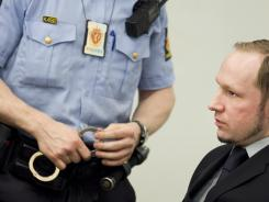 Anders Behring Breivik, charged with committing terrorist acts in the deaths of 77 people, in court in Oslo on Friday.