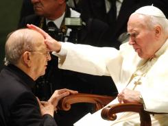 Pope John Paul II blesses late father Marcial Maciel, founder of Christ's Legionaries, in November 2004. The Vatican is now investigating seven priests from the Legion of Christ religious order for alleged sexual abuse of minors.