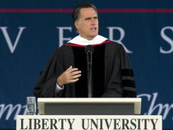 Mitt Romney delivers the keynote address at Liberty University's 39th Annual Commencement in Lynchburg, Va., on Saturday. Romney pushed family values in the wake of Obama's endorsement of same-sex marriage.