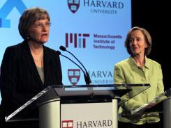 Harvard President Drew Faust, left, and Massachusetts Institute of Technology President Susan Hockfield announce a new partnership in online education earlier this month in Cambridge, Mass.