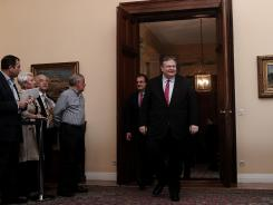 Evangelos Venizelos, leader of the Socialist party PASOK, arrives Tuesday for a meeting at the Presidential Palace.