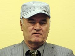 Bosnian Serb General Ratko Mladic in courtroom at his initial appearance at the U.N. Yugoslav war crimes tribunal in The Hague in 2011.